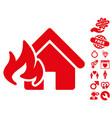 fire damage icon with love bonus vector image