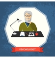 Psychologist with glasses at his workspace vector image