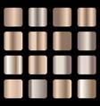 set of bronze foil texture gradation vector image