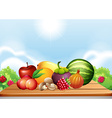 Fresh fruits and vegetables on table vector image