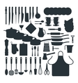 Kitchenware silhouette icons vector image
