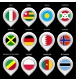 Map marker with flag-set seventh vector image vector image