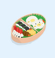 japanese lunch box bento funny cartoon food vector image