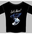 Black T-shirt printed with a winged sneaker vector image