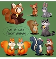 Set of adorable woodland creatures vector image