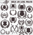 Set - shields and laurel wreaths vector image