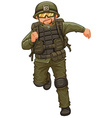 Man in military suit running vector image