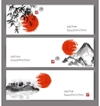 Banners with red sun bamboo mountains and island vector image
