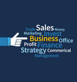 hand is pointing on business word collage vector image