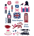 Symbols of UK set in lino style vector image
