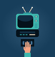 Video Cassette Player with TV Human Hand with vector image