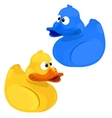 Yellow and blue funny toy duck isolated vector image