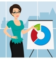 Business woman is representing a round diagram in vector image
