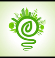 eco cityscape with light-bulb and leaf icon stock vector image