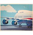 big civil aircraft old poster vector image