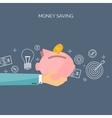 Flat backgrounds set Piggy vector image