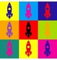 Rocket sign Pop-art style icons set vector image