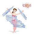a circus girl spinning hulahoops vector image
