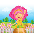 Cartoon Pink Flower Girl vector image