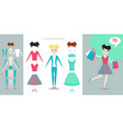 girl character creation set cartoon flat vector image