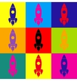 Rocket sign Pop-art style icons set vector image