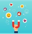 social media marketing concept hand holding vector image