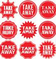 Take away red label Take away red sign Take away vector image