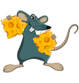 Cute cartoon mouse with cheese vector image vector image