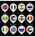 Map marker with flag-set sixth vector image vector image