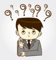 businessman sitting under question marks vector image