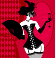 lady in a black corset vector image vector image