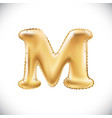 balloon letter m realistic 3d isolated gold vector image