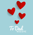 Happy fathers day card design with Red heart vector image vector image