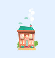 flat cartoon landscape with house vector image