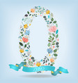 floral number zero with blue ribbon vector image
