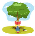 girl reading book sitting under tree of wisdom vector image