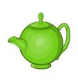 Green teapot icon cartoon style vector image