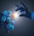 hand touch cube vector image