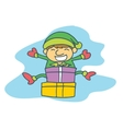 Happy elf with gift Christmas collection vector image