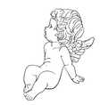 Tired little angel vector image