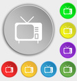 tv icon sign Symbol on eight flat buttons vector image