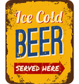 Vintage Beer Tin Sign vector image vector image