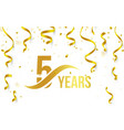 isolated golden color number 5 with word years vector image
