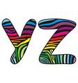 Background skin zebra shaped letter Y Z vector image