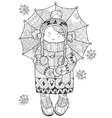 Girl under umbrella in winter hand drawn doodle vector image