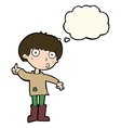 cartoon boy asking question with thought bubble vector image