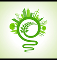 eco cityscape with light-bulb and leaf icon vector image