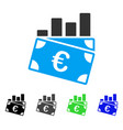 euro sales chart flat icon vector image