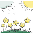 flowers sun and cloud Imitation of childrens vector image