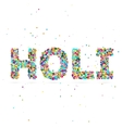 Holi word consisting of colored particles vector image